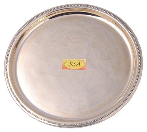 SHIV SHAKTI ARTS Handmade Pure Brass Plate/Thali Round Circular Design