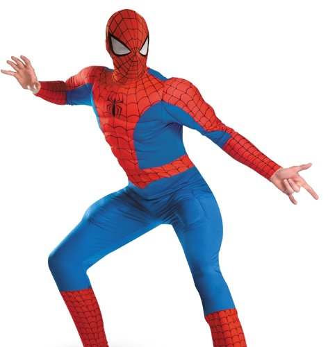 Marvel Disguise Men's Spider-Man Deluxe Muscle Costume, Blue/Red,