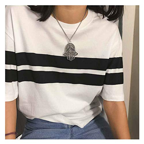 Yfe Hamsa Hand Pendant Necklace Silver Hamsa Necklace Choker Minimal Everyday Necklace Jewelry for Women and Girls