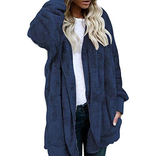 Jacket Warm Hooded Fur Cardigan LAEMILIA Sherpa Faux Blue Coat Girl Reversible Fleece Winter Fluffy Women xnw8O