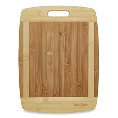 Kitchen Active Bamboo Cutting Board. Premium Natural Eco Friendly Boards Are Best For Chopping Brie Cheese, Vegetable, Pastry Lemon, Watermelon, French Bread. 13 X10  With Big Wood One Handed Handle