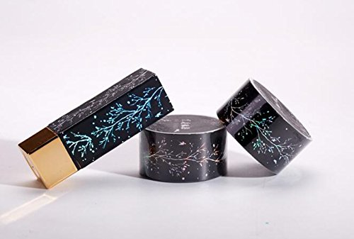 Chinese Wind Paper Tape Black Lacquer Silver Plum Laser Stick Lipstick DIY Wild Hand Account New,Black