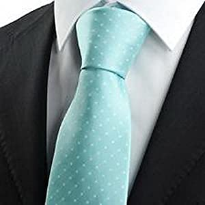 Dan Smatree ties Men's formal Tie Necktie White Polka Dot Mint Blue JACQUARD Wedding Party Suit Groomsmen JV817