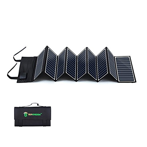 SUNKINGDOM™ 60W 2-Port DC USB Solar Charger with High-efficiency Portable Foldable Solar Panel PowermaxIQ Technology for iPhone, iPad, iPod, Samsung, Camera, and More (Black) by SUNKINGDOM