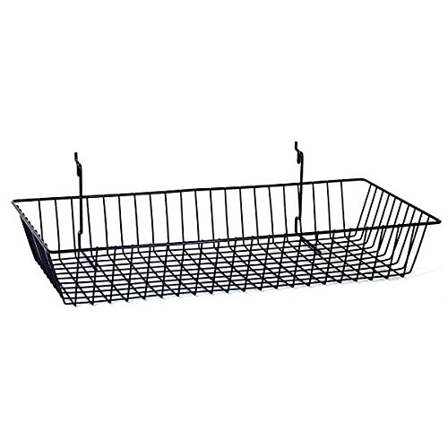 Count of 8 New Retails Black Grid Wire Basket 24''w x 12''d x 4''h