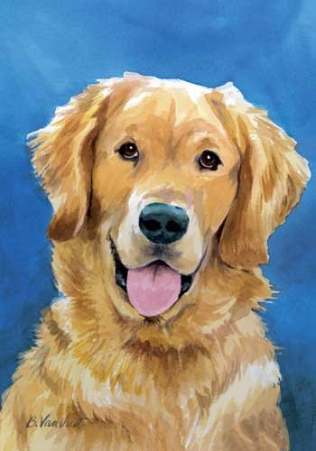 Golden Retriever Dog Breed Patriotic House Flag 28 x 40 Inches