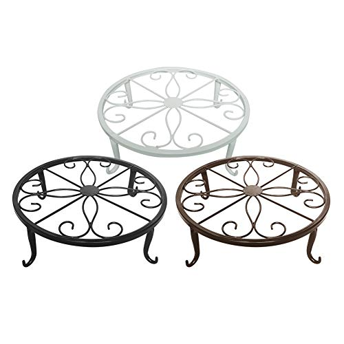 Indoor Outdoor Plants Stand Wrought Iron Sturdy Flower Pot Olde Metal/Iron Art, 9.5 inch, Pack of 3 Colors,Black, White& (White Wrought Iron Plant Stand)