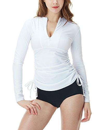 Tesla TM-FSZ04-WHT_Small Women's UPF 50+ Half-Zip Front Long Sleeve Top Rashguard Swimsuit FSZ04