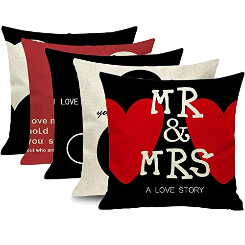 EZVING Happy Valentine's Day Cotton Linen Throw Pillow Case Mr&Mrs Lovers Pattern Square Decorative Cushion Cover with Beer Pattern 18X18 Inch Pillow Covers, 45x45cm,4 Pack]()