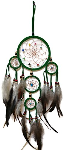 Moose546 Green Dream Catchers Hanging Ornaments with Feathers and Beads 4.5