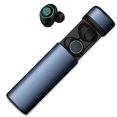 HolyHigh Auricolari Bluetooth Sport Wireless Cuffie Bluetooth Mini Stereo Cuffie Wireless Senza Fili con Stazione di Ricarica e Microfono Incorporato per iPhone Samsung Huawei (Blue)