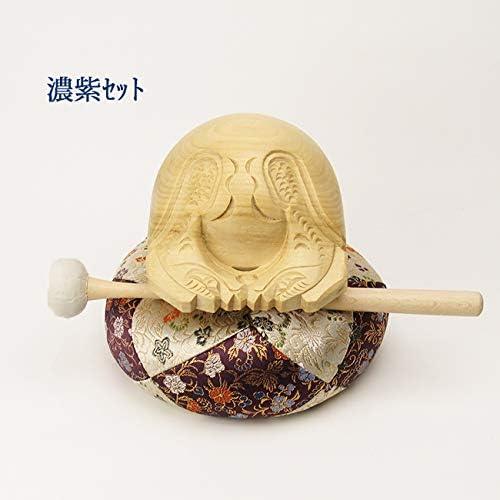 白木木魚3寸セット(葵) 【仏具】木魚幅約9cm (濃紫)