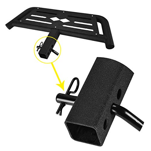 HONGNAL Hitch Armor for Cars with 2-in Hitch Receiver | Textured Black | Hitch Step | Rear Bumper Guard Protector | with Pin Lock and Stabilizer