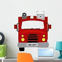 Cartoon Fire Truck Wall Decal by Wallmonkeys Peel and Stick Graphic (24 in H x 22 in W) WM276215