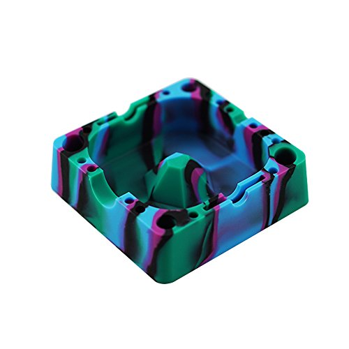 YHSWE Silicone Creative Ashtray with Compartment for Various Cigars Cigarettes and Tools Eco-Friendly Unbreakable Soft Square Tray High Temperature Heat Resistant Black/Blue/Purple/Green