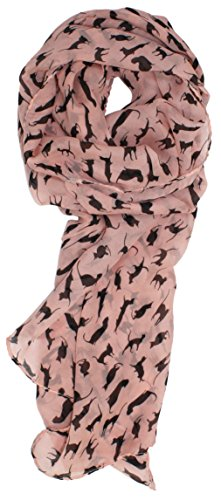 Modern Minute's Fashionable Feline Chiffon Feel Cat Scarf in Pink (Valentimes Gifts)