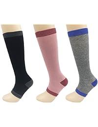 Womens Slim Leg Knee Compression Sock Toeless Sport Nurse Travel Stocking 3Pairs