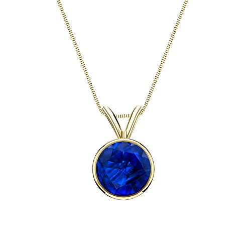Diamond Wish 14k Yellow Gold Blue Sapphire Gemstone Soltiaire Necklace (3/8ctw) Bezel Set, 18-inch Box Chain ()