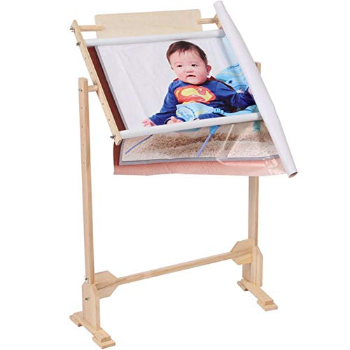 IMSHI Adjustable Wooden Standing Leg Embroidery Frame Solid Wood Cross Stitch Rack - Adjustable Lap & Table Stand with Scroll Frame