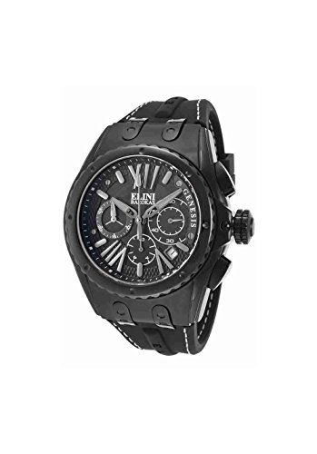 Elini Barokas Men's 'Genesis Vision' Swiss Quartz Stainless Steel and Silicone Casual Watch, Color:Black (Model: ELINI-20008-BLK) - Elini Black Chronograph