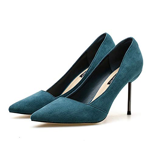 Wild Princess Dark High Yukun 39 Small Suede Pointed High Navy Fresh Blue heels Girl Autumn Heel Women'S Stiletto Nude wSdWqYd6ax