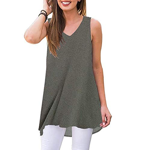 Womens Summer Sleeveless T-Shirt V-Neck Hi-Low Hem Tops Floral Casual Blouse Shirts (Gray -