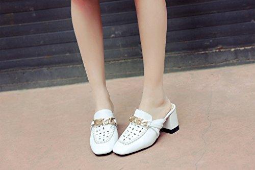 Calaier Femmes Caunit3 Fermé-orteil 6.5cm Bloc Talon Slip-on Mule Chaussures Blanc