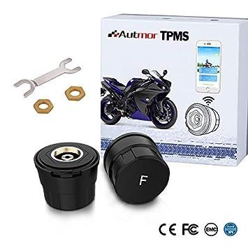 Autmor TPMS Presión de Neumáticos Manómetro de Motocicleta con Función Antirrobo, Sistema de Control de