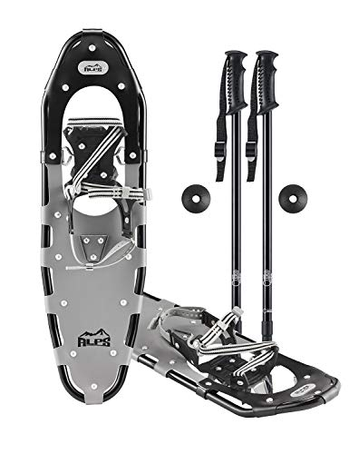 ALPS Extreme Light Weight only 3.8 lbs All Terrian Snowshoes for Men Women 25 Inches with Pair Antishock Snowshoes Poles Free Carrying Tote Bag 25 Inches
