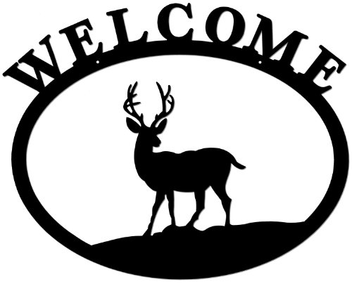 Deltech Outdoor Living Wrought Iron Welcome Sign- Deer