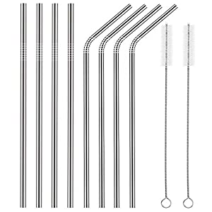 YIHONG Reusable Metal Straws Set of 8 Stainless Steel Straws