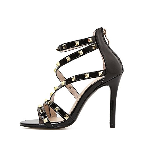 Stiletto Diamond Watch - Black High Heel Sandals Women Shoes Summer Gladiator Stiletto Zipper Rivets Apricot Size 35-40,Black,8.5