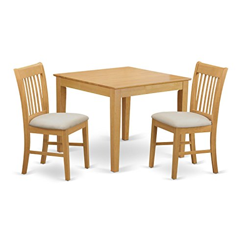 East West Furniture OXNO3-OAK-C 3 Piece Table and 2 Dinette Chairs Set - 2 Piece Oak Desk