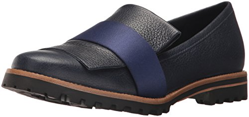 Bernardo Womens Ora Loafer Flat Navy Tumbled Pascale/Satin PmRicnDxI