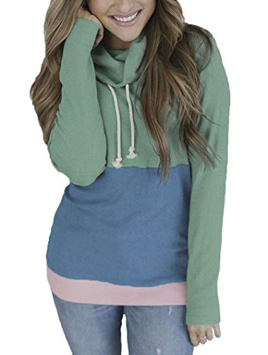 ORMAY Women's Long Sleeve Cowl Neck Casual Slim Tunic Tops with Drawstring (Green, X-Large)