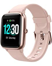 Smartwatch, fitnessarmband, volledig touchscreen, 5ATM waterdicht, dames heren smartwatch voor Android iOS, fitnesshorloge met hartslagmeter, slaapmonitor, stopwatch, muziekbesturing, sporthorloge, activiteitstracker