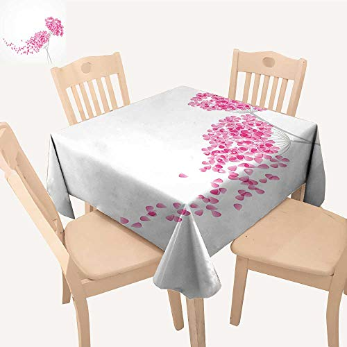 UHOO2018 Fitted Polyester Tablecloth  Blossoms Botany Bouquet Garden Romance Baby Pink Eggshell Square/Rectangle Washable for Tablecloth,52x 52 inch ()