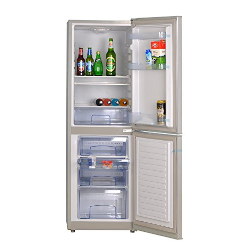 SMETA Solar-Powered Refrigerator Freezer AC DC Double Door Fridge,7.0 Cubic Feet