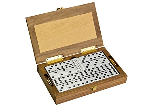 Club Alex Luxury Domino Set with Handcrafted Walnut-Framed Beechwood Case & Cribbage / Counter Top - Tournament Quality 28 Double-Six Dominoes (Domino Set with Personalized Brass Plate)