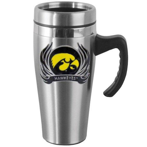 NCAA Iowa Hawkeyes Steel Flame Style Logo Travel Mug with Handle