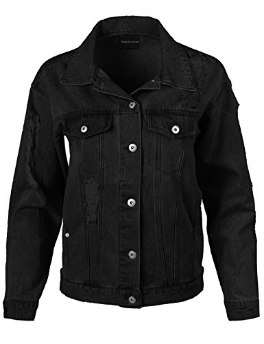 Made by Emma Womens Over-Sized Destroyed Long Sleeve Denim Jacket