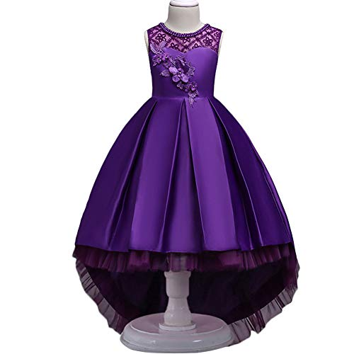 HUANQIUE Girls Hi-Low Wedding Pageant Dress Flower Girl Party Gowns Purple 9-10 Years