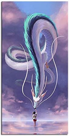Amazon Com Lihuaiart Spirited Away White Dragon And Ogino Chihiro Art Home Wall Decorations For Bedroom Living Room Oil Paintings Canvas Prints 1154 Framed 16x32inch Posters Prints