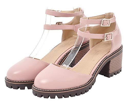 À Correct Unie Femme Légeres Cuir Couleur Talon Agoolar Rose Boucle Pu Chaussures Gmbdb015450 6qaXwwt