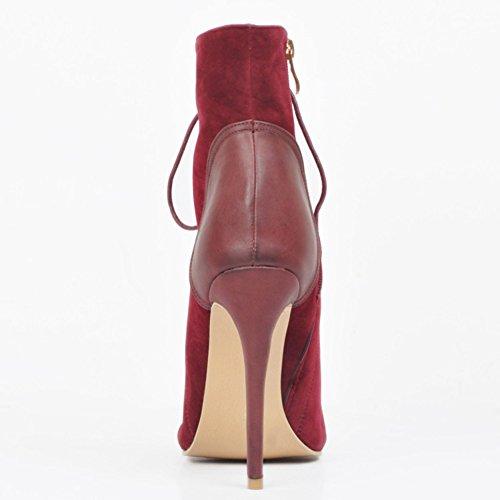Kolnoo - Pantuflas de caña alta Mujer Redwine