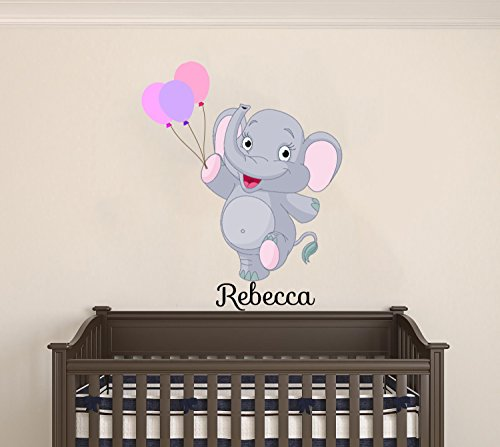Elephant Balloon Animal - Custom Name Happy Baby Elephant With Balloons - Animals Theme - Baby Girl / Boy - Wall Decal Nursery For Home Bedroom Children (17