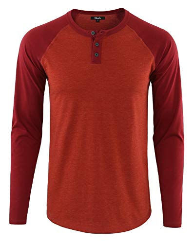 Estepoba Mens Athletic Regular Fit Long Sleeve Active Henley Shirt Baseball Tee H.Rusty/Maroon S