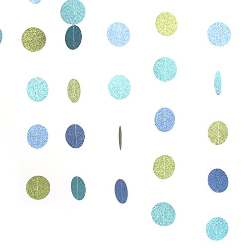 ZOOYOO-Paper-Circle-Garland-Dots-Hanging-Decor-Circle-Event-Party-Supplies2-high66-feetGreen-Light-blue-Dark-blue2pc