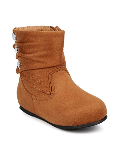 Little Angel DB71 Suede Round Toe Pleated Jewel Riding Boot (Infant/Toddler Girl) - Camel (Size: Infant 0) (Pleated Jewel)