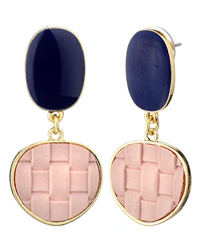 Enamel Pierced Earrings - Women's Smooth Enamel Faux Leather Weaved Geometric Dangle Pierced Earrings, Light Pink/Gold-Tone
